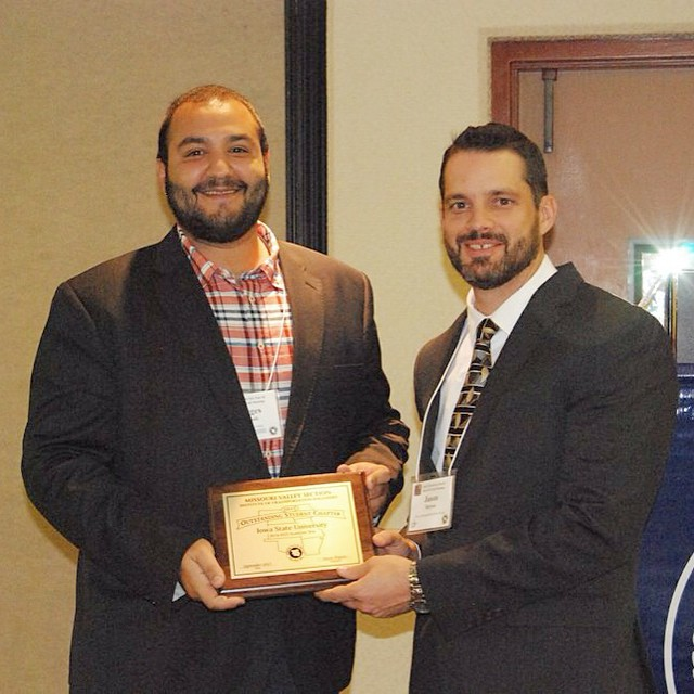 Georges Bou-Saab, left, pictured with Jason Haynes, past president of MOVITE. Bou-Saab was accepting the award for outstanding Transportation Student Association chapter.