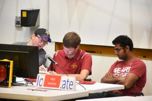 ISU's team in competition, from left, Justin Cyr, Jacob Warner, and Ashirwad Barnwal