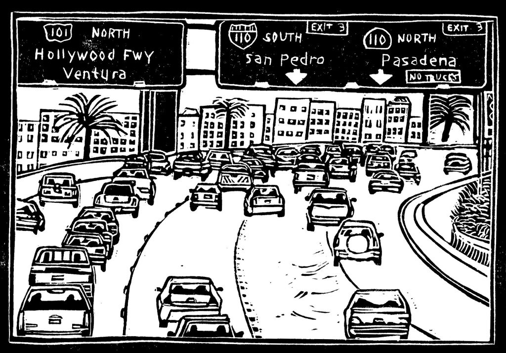 Black and White artwork of Los Angeles Freeway