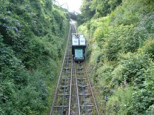 Funicular moving down the tracks.