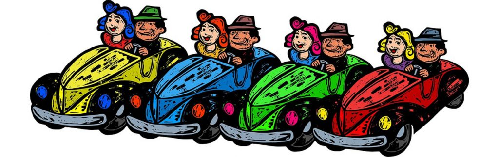 Artwork of couples driving different colored cars.