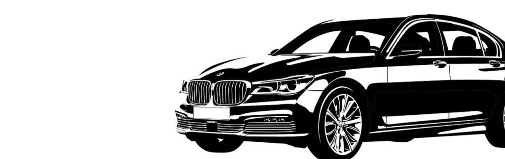 Black and white artwork of expensive car