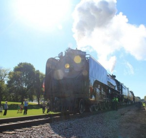 Living Legend train on rail lines in Ames, Iowa