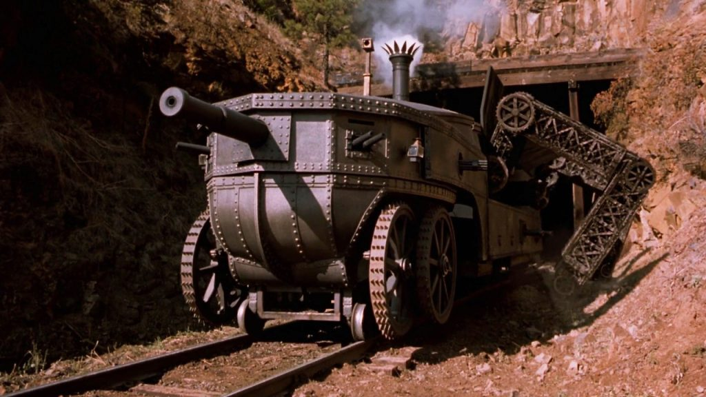 Loveless' steam-powered tank transforming into a rail car.