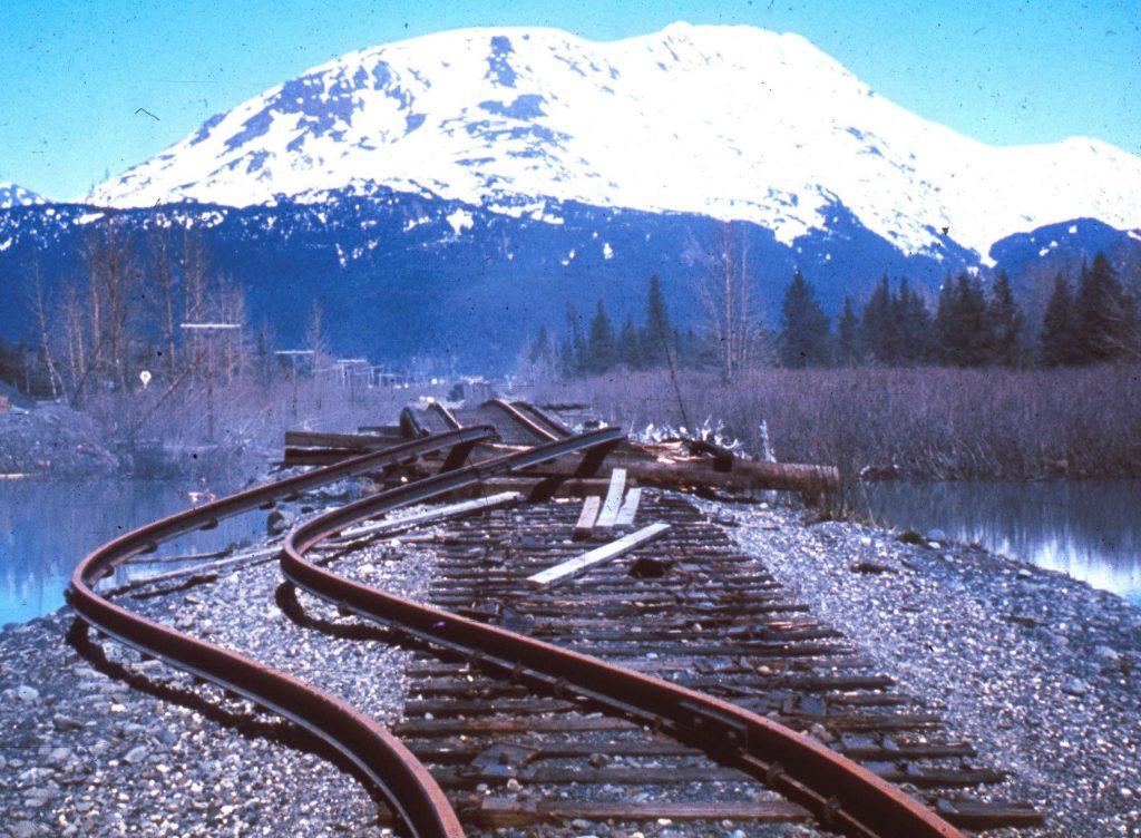 Alaska Railroad tracks and bridge severely damaged by 1964 earthquake.