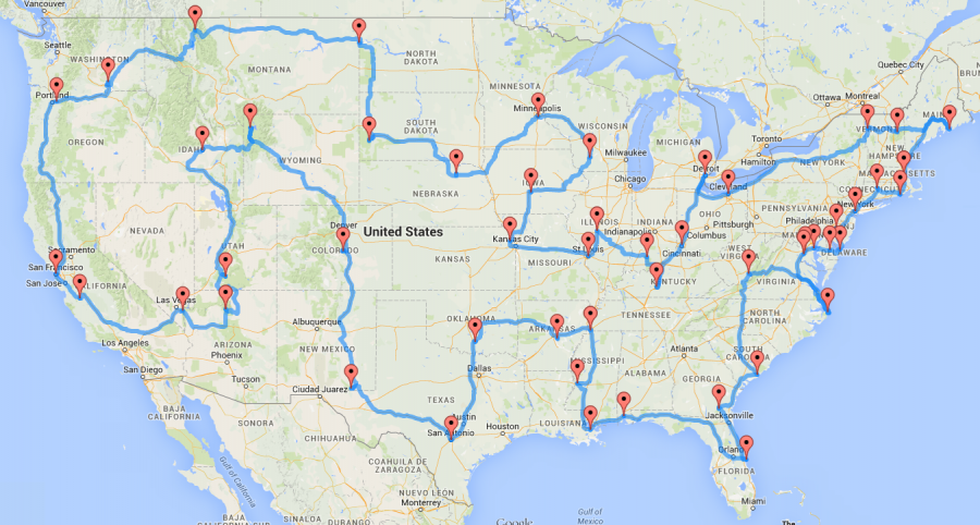 Map for the optimal 48-state road trip