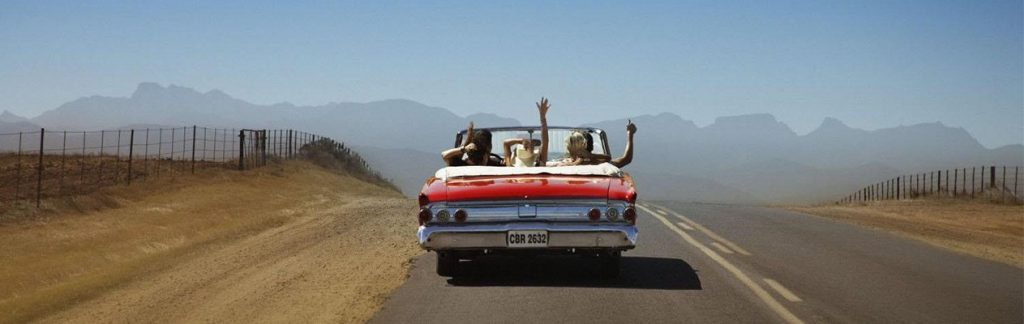 Convertible on rural road