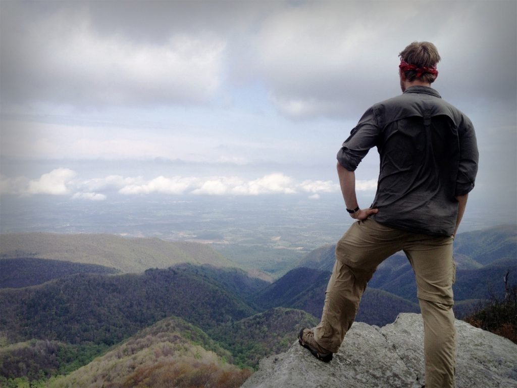 Thru-hiker enjoying the view
