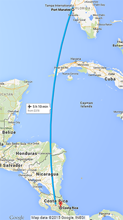 Distance from Costa Rica to Port Manatee.