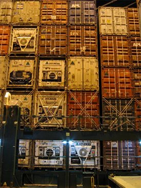 Containers on a reefer ship with refrigeration units