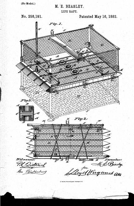 Maria Beasley's 1882 life raft patent