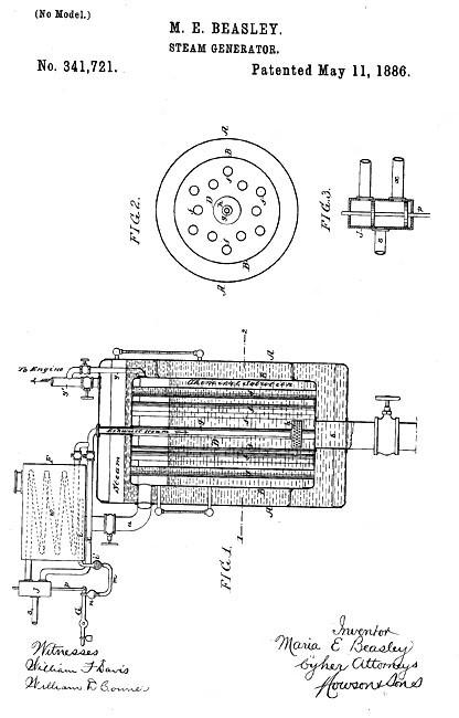 Maria Beasley's 1886 steam generator patent