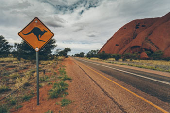 Kangaroos crossing sign in the Australian Outback.