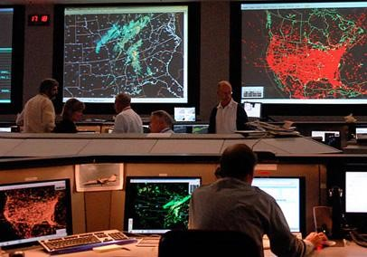 Operations floor at the Air Traffic Control System Command Center (ATCSCC)