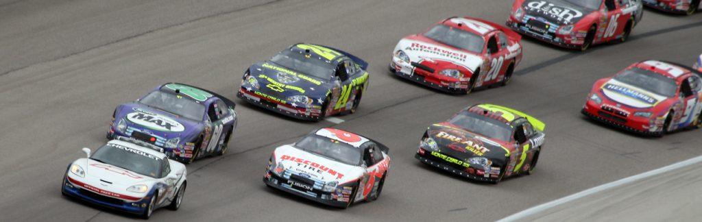 Race cars on a track