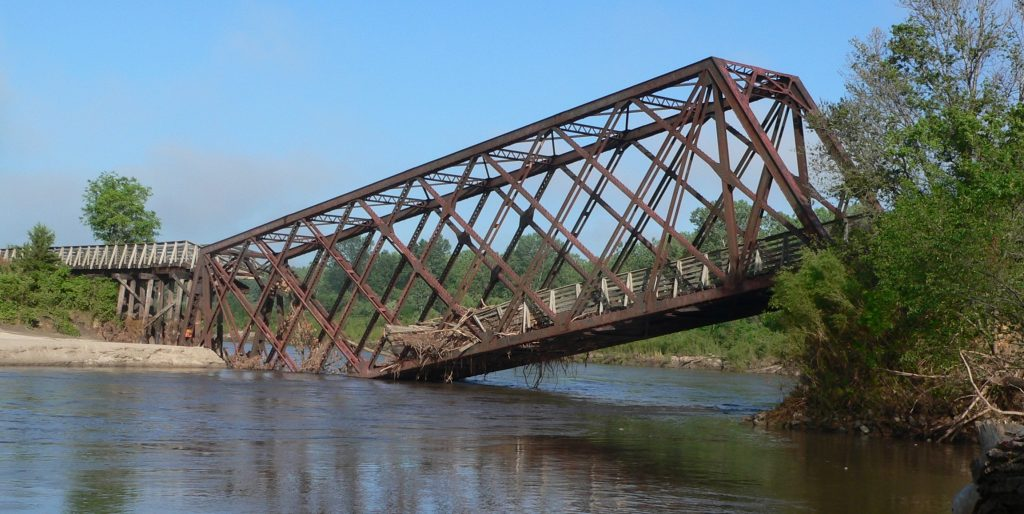 Bridge collapsed from flooding