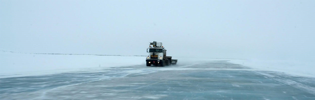 Truck on ice road