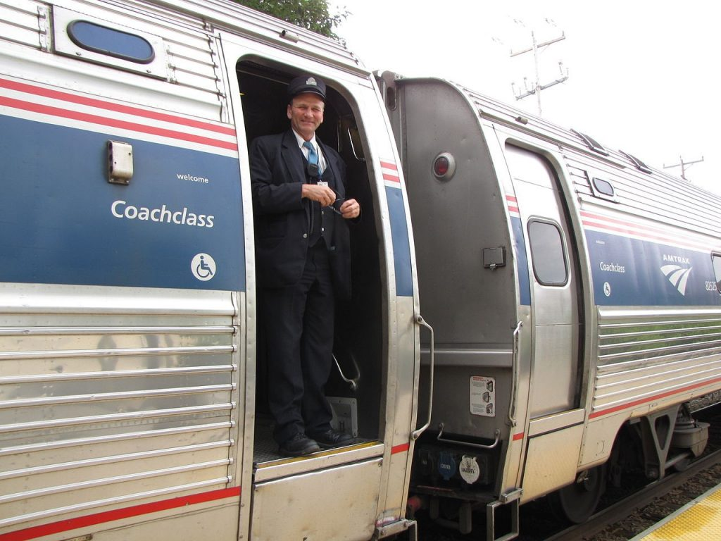 Conductor aboard an Amtrak passenger train