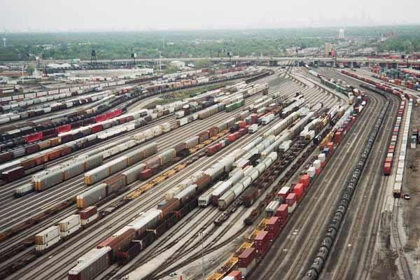 Trains at rail yard