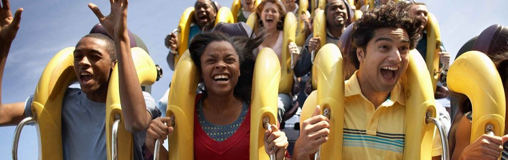 People on a roller coaster
