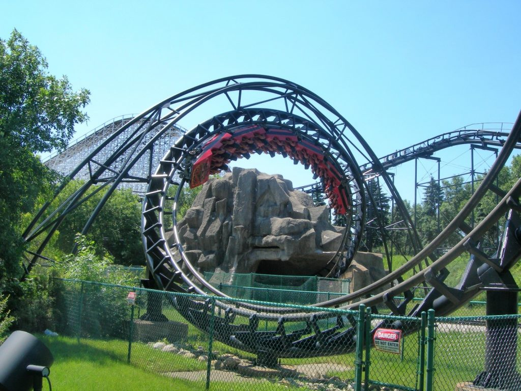 "Riding Six Flags Great America's ""Demon"" multi-loop roller coaster"