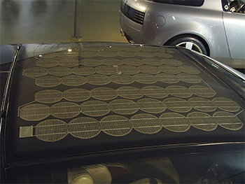 Solar panels on the roof of a car