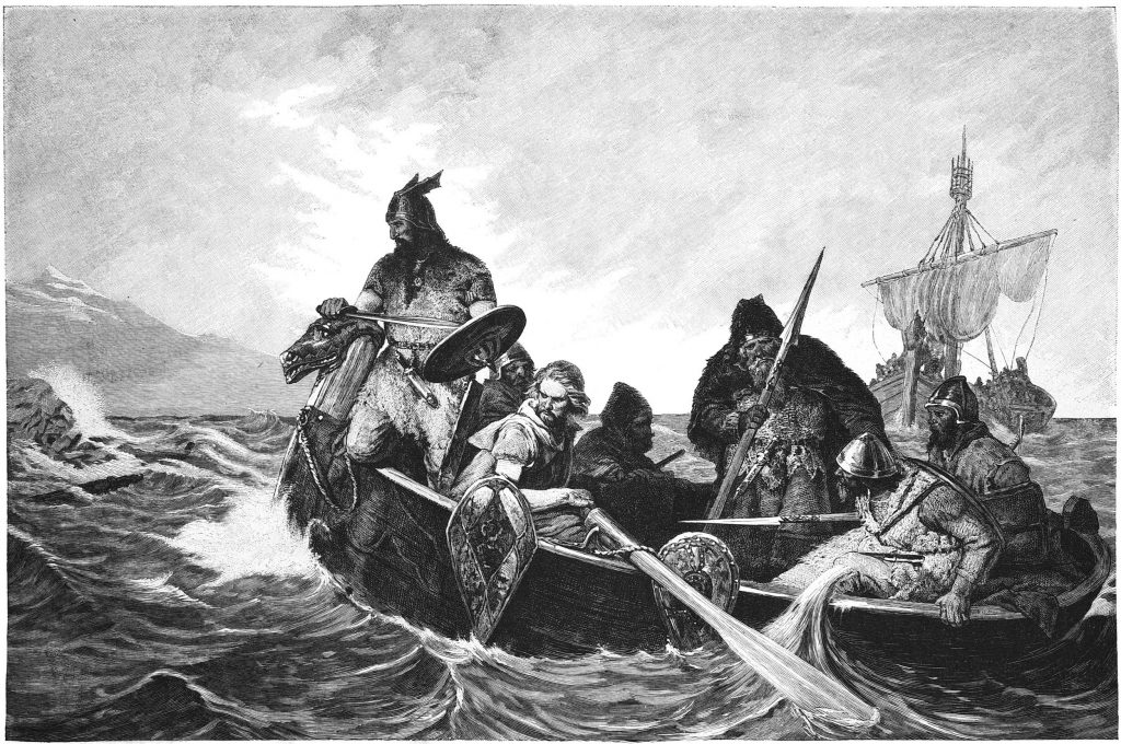 Painting showing Norsemen in rowboat.