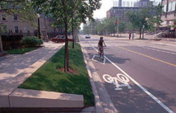 Bike lane on a street that has undergone a road diet