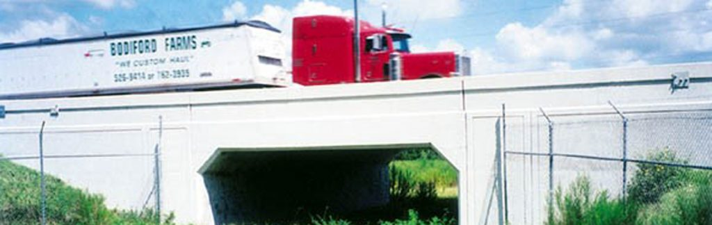 Truck cross bridge with bear underneath