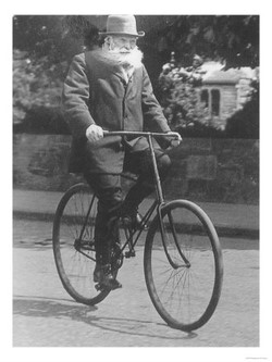 Dunlop on a bicycle, circa 1915