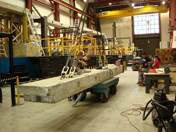 Figure 2. Taking a prefabricated beam to build a bridge