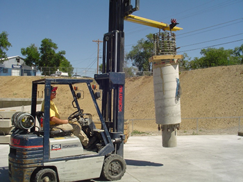 Figure 5. Precast column being moved to attach to footing
