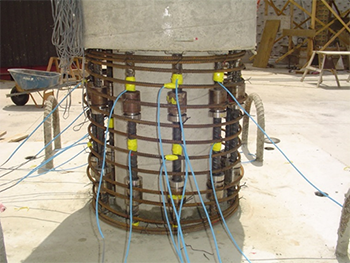 Figure 7. More reinforcement and sensors are attached before covering connection with concrete