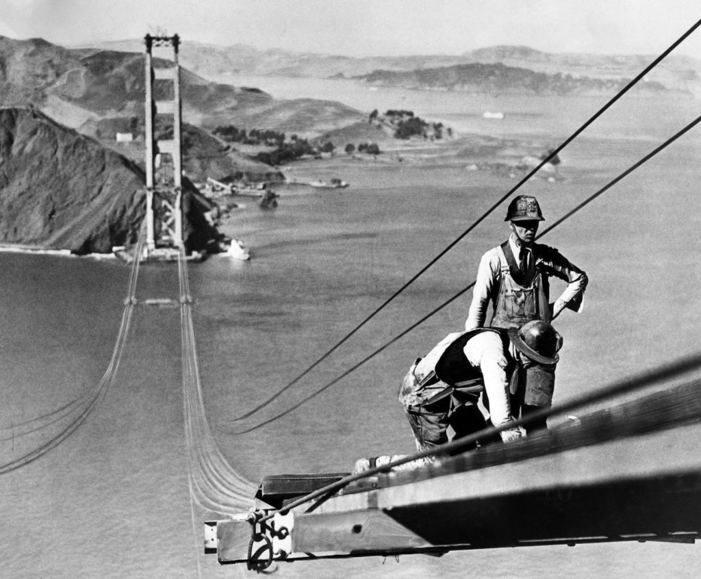 Golden Gate Bridge construction, dated October 1935