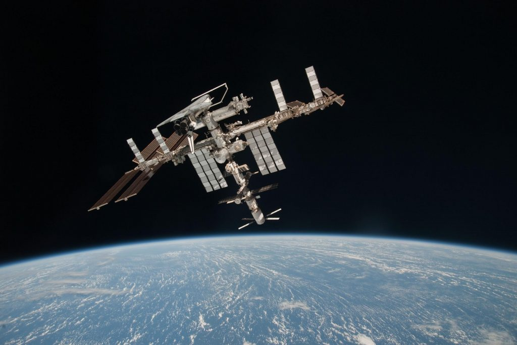 A look at the ISS and docked Space Shuttle Endeavor.