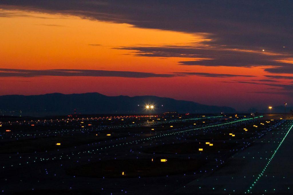 Taking off at twilight from KIX