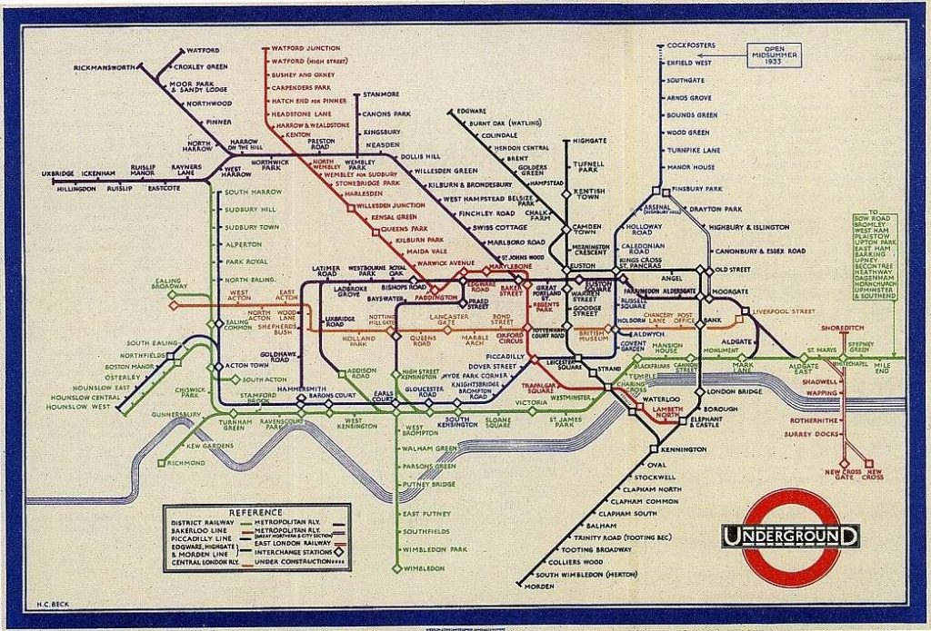 Harry Beck's London Underground map circa 1933
