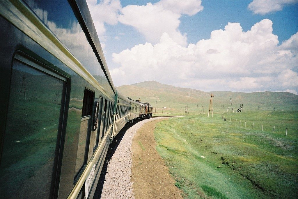 Trans-Siberian train window view.