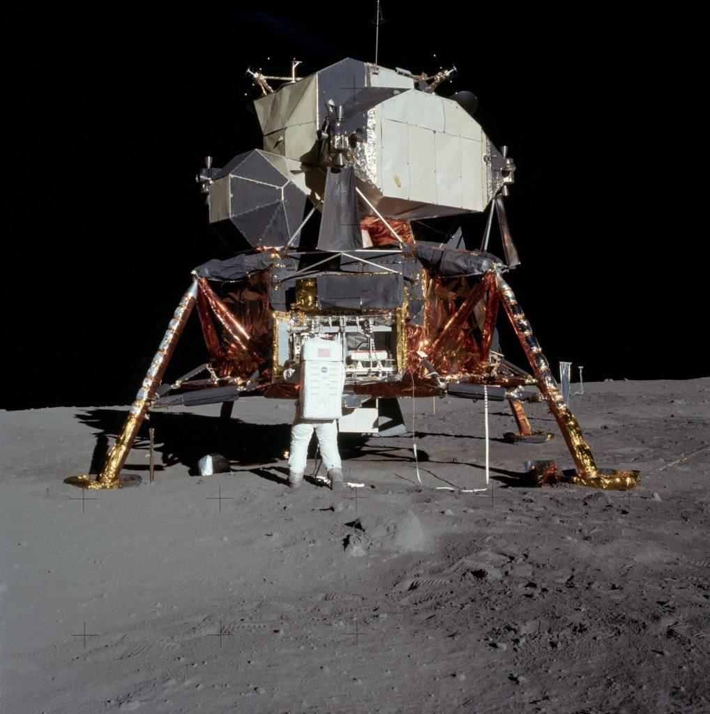 Buzz Aldrin with the Lunar Lander