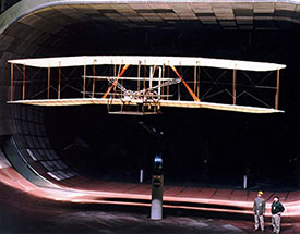 "Replica of the ""Wright Flyer"" owned by the Smithsonian."
