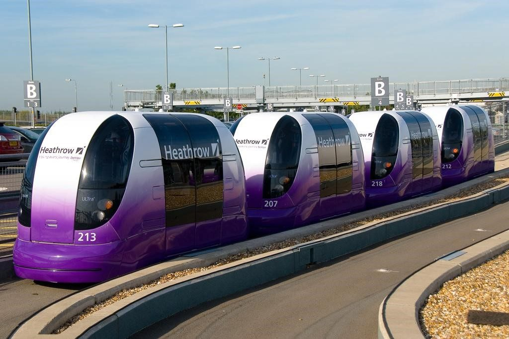 Rapid transit pods at London's Heathrow Airport.
