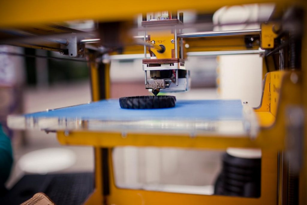Close up of traditional 3D printer in action