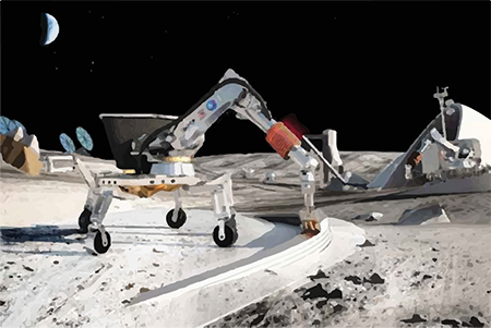 Simulation of robot on Mars building infrastructure
