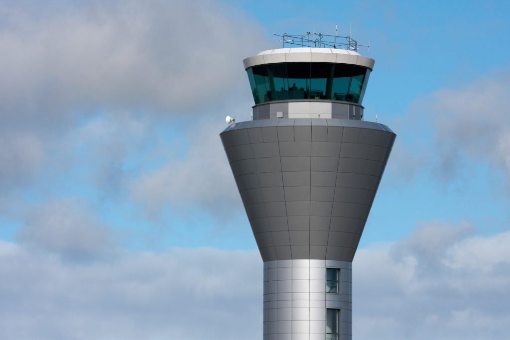 Air traffic control tower at Jersey Airport
