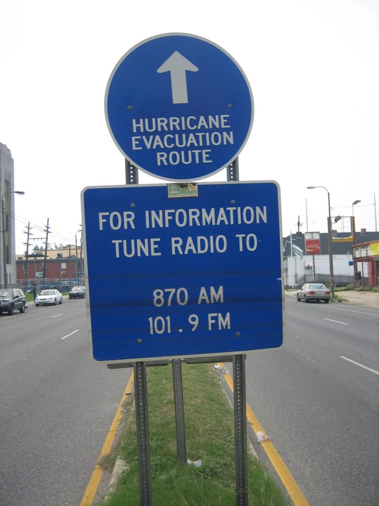 New Orleans evacuation route post after Hurricane Katrina, May 2006