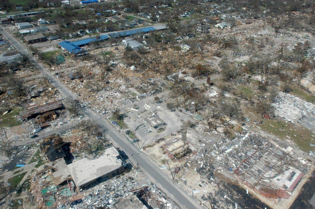 Hurricane Katrina damage in Gulfport, Mississippi, September 2005