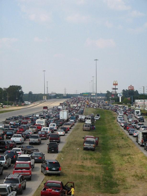 Evacuating Hurricane Rita in Texas, I-45, September 2005