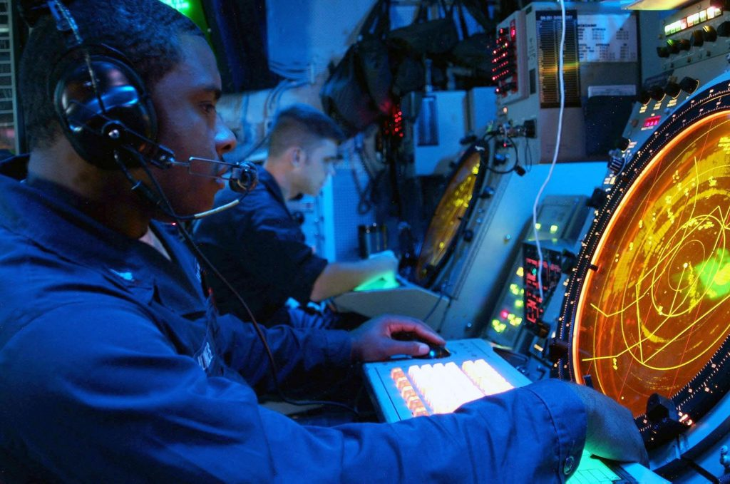 Radar approach controllers at sea