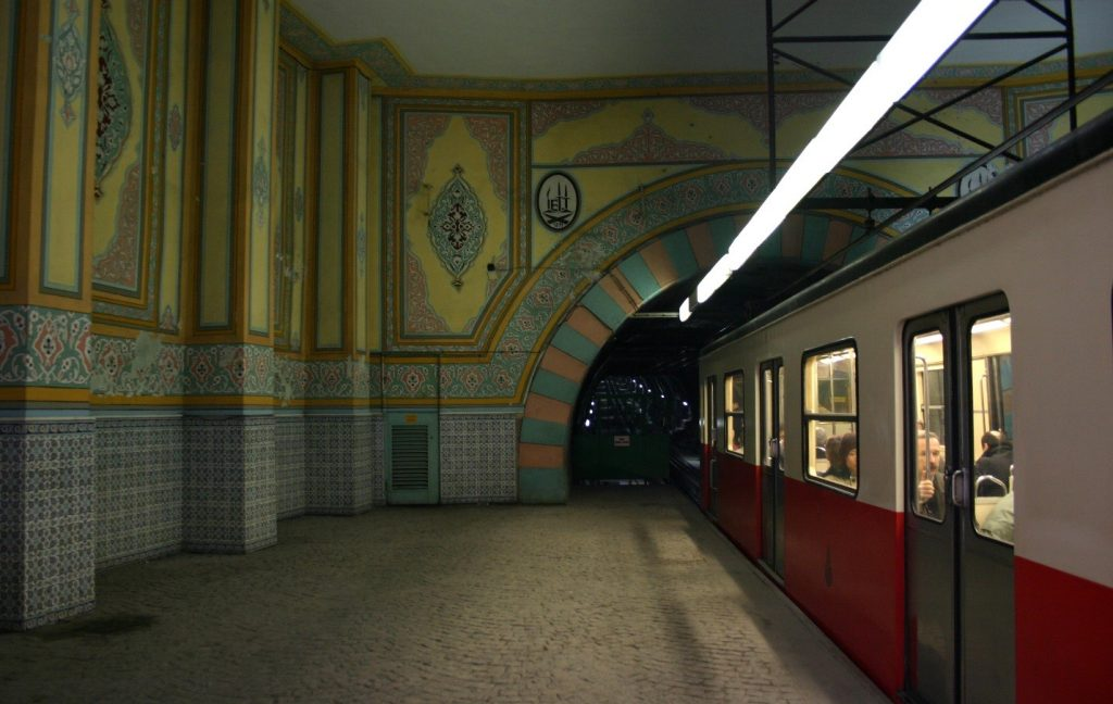An Istanbul subway funicular (F2), the Tunnel
