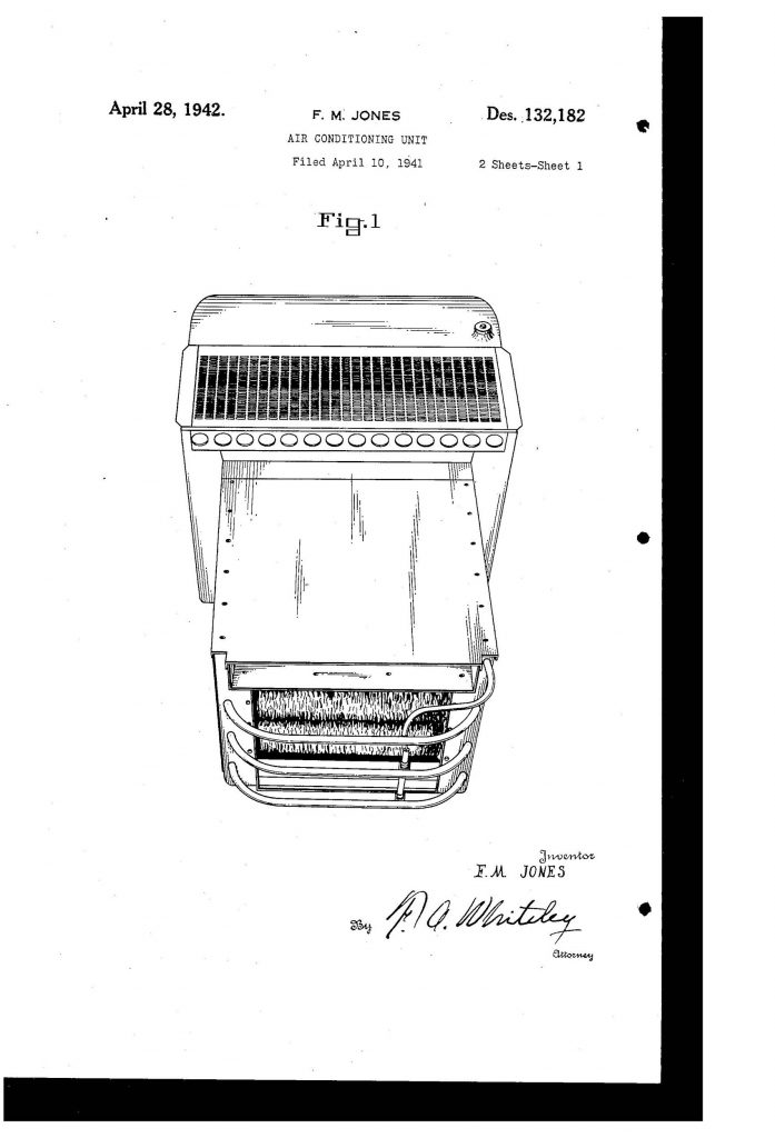 Frederick McKinley Jones' air cooling unit patent